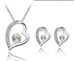 $enCountryForm.capitalKeyWord Australia - 2014 New Austria Crystal Women Pendant necklace Jewelry Set 925 silver Earring Crystal Pendant Necklace Jewelry Fit Wedding Gift