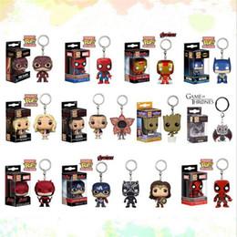 Ingrosso funko pop toys 14 Disegni 5cm marvel avenger Funko Pop action figures Portachiavi in PVC Bambola con scatola al dettaglio Giocattoli per bambini regali