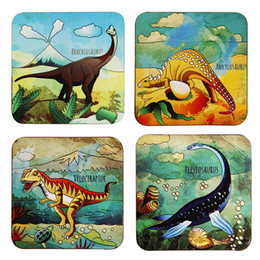 Eco Fiber Australia - Dinosaur Series Coaster Natural Cork Wood Coaster Eco-friendly Cartoon Printing non-slip Square Cup Table Bowl Mats & Pads Durable Coasters