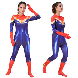 zentai hero cosplay 2019 - Avengers Infinity War Captain Marvel Costume Female Women Movie Cosplay Bodysuit New Party Halloween Costumes Zentai Sui