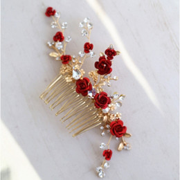 $enCountryForm.capitalKeyWord Australia - Jonnafe Red Rose Floral Headpiece For Women Prom Rhinestone Bridal Hair Comb Accessories Handmade Wedding Hair Jewelry Y19061905