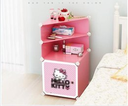 Wholesale Decorative Storage Boxes NZ - Bedside storage box Plastic finishing cabinet A Simple Combinatorial Finishing and Receiving Bedside Cabinet children room storage box