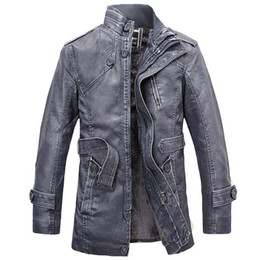 Mens Parka Leather Canada - Leather Jacket men's long wool leather Standing Collar Jackets Coat Warm Outwear parka mens PU leather jackets and coats