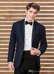 $enCountryForm.capitalKeyWord Australia - 2018 New Dark Navy Men Suits For Wedding Slim Fit Custom Made Groomsmen Tuxedos Two Pieces Cheap Prom Party Suit (Jacket+Pants+Tie)