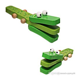 $enCountryForm.capitalKeyWord Australia - Wooden Cartoon Orff Percussion Instruments Green Crocodile Handle castanets knock musical toy for Children Gift Baby Wood Music Toys HOT