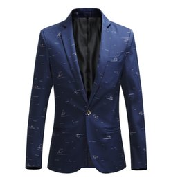 red wine slim suit UK - Plus size 5XL 6XL Fashion Men Slim fit Casual blazers men printing suits coat man clothes White Navy New Wine red 2018 Spring