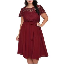 b98b150b25 Women Vintage Short Sleeve Floral Lace Top A-line Dress O-neck Plus Size  8XL 9XL Party Chiffon Midi Cocktail Swing Dress Clothes