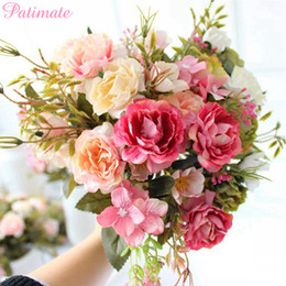 flower for decoration wholesale Australia - PATIMATE Rose Artificial Flowers For Wedding Decoration Silk Fake Floral Bouquet For Home Decor Wedding Party Supplies