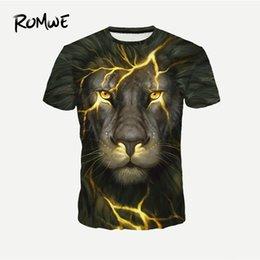 Novelty Tees Australia - Mens Lion Print Fashion Novelty Tees 2019 Summer Round Neck Short Sleeve Tops Male Animal Pattern T-shirts
