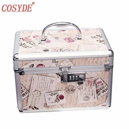 Gold Boxing Trunks Australia - New Fashion Portable Aluminum Alloy Cosmetic Case Large Capacity Password Lock Toiletry Box Built-in Mirror Organizer Makeup Bag #251144