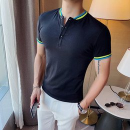 casual british polo NZ - Tops Men's Striped Collar Short-sleeved Men 2020 Summer Polo Shirts British Fashion Polo Camisa Hombre La Ropa De Los Hombres T200519
