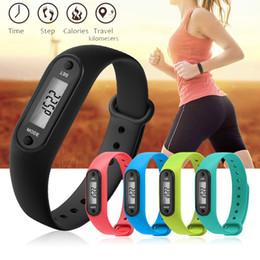 Men Digital Wrist Watches NZ - Digital LCD Silicone Watches Pedometer Run Walking Step Distance Calorie Counter Wrist Women Men Sport Fitness Watch Bracelet
