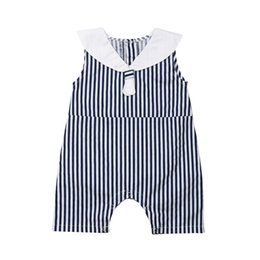 $enCountryForm.capitalKeyWord UK - Newborn Toddler Kids Baby Girls Clothes 2019 New Summer Blue Strip Sleeveless Woven cotton Bodysuit Jumpsuit Outfits Playsuit