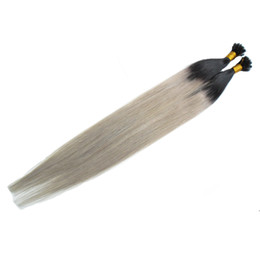 Two Tone Black Burgundy Hair Australia - Virgin Brazilian Straight Remy Hair 100s Two tone ombre Pre Bonded keratin Nail U TIP Human Hair Extensions Black And Grey Ombre Virgin Hair