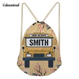 Drawstring School Bags Australia - Coloranimal School Bus Print Teenager Girl Travel Mini Drawstring Bag Brand Design String Backpack Shoulder Bag Sack Storage