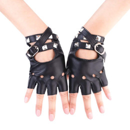 $enCountryForm.capitalKeyWord Australia - Punk Wrist Gloves Rivets Belt Up Half Finger PU Leather Rock-and-roll Fingerless Short Gloves Biker Driving Leather Accessories