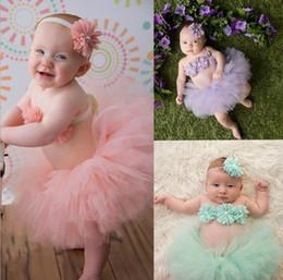 Infant Tutus Wholesale Australia - Newborn Baby Girl Outfits Photography Props Infant Costume Cute Headband Tutu Skirt Set 3 colors free shipping