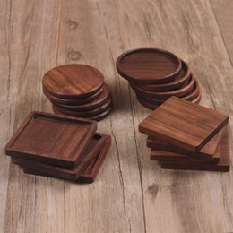 modern table placemats Australia - Durable Walnut Wood Coasters Placemats Decor Square Round Heat Resistant Drink Mat Home Table Coffee Cup Pad