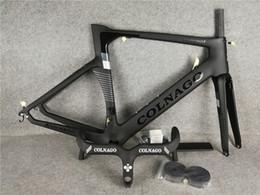 black Colnago handlebar + Black Colnago Carbon Road bike Frame full carbon fiber bicycle frame BB386 2021 on Sale