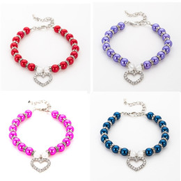 Small Pendants Australia - Fashion Dog Jeweled Necklace Pet Puppy Dog Cat Pearl Jewelry Decorative Collar Pet Accessories Love Pendant For Small Dogs Cats Supplies