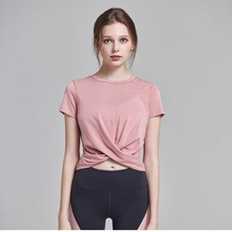 Ladies Cropped Yoga Tops NZ - Cute Front Cross Yoga T-shirts Short Sleeve Fitness Clothing Women Gym Workout Crop Tops Quick-drying Running Sport Shirt Ladies #344699