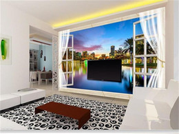 house window stickers Canada - custom size 3d photo wallpaper living room bed room mural window city night view 3d picture sofa TV backdrop wallpaper non-woven sticker