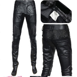 6745143e04247c 2019 men's stretch motorcycle leather pants men's slim feet leather pants  black trend nightclub singer trousers