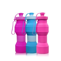 Strap typeS online shopping - 800ml Creative Outdoor Silicone Kettle Travel Eco Friendly Folding Water Bottle colorful types Cycling hold strap Drinkware QQA400