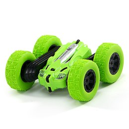 Rolls lights online shopping - Wireless remote control car stunt off road vehicle remote control car double sided rolling charging dump truck light toy car