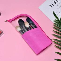 Wholesale Cosmetic Fashion Stand up Half Transparent Waterproof Pencil Case Pouch Portable Multifunction Travel Brush Holder Makeup Bag