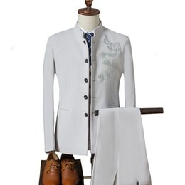 $enCountryForm.capitalKeyWord UK - Men's Traditional Stand Collar Chinese Wedding Dragon Totem Embroidered Suit 3 Piece Set (jacket + Vest + Pants) Men's Suit 4xl