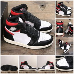 tassel sneakers Australia - 1 OG High Black Gym Red Basketball Shoes 1S White Sail For Men Women Retro Sports Sneakers 555088-061 With Original Box