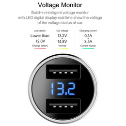 Car Chargers For Usb Australia - ROCK H2 Dual USB Car Charger with Digital LED Display 5V 3.4A Aluminium Alloy Fast Charging Voltage Monitoring for iPhone Samsung,Sliver