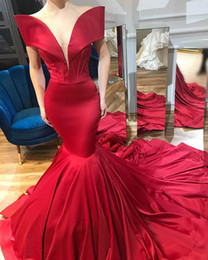Red long off shouldeR dRess online shopping - Red Sexy Mermaid Long Evening Dress Arabic Off The Shoulder Satin Ruched Simple African Sweep Train Formal Party Prom Gowns