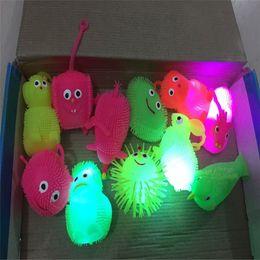 Caterpillar Soft Toys Australia - new 2019 Luminous inflatable soft silicone hair ball shiny hedgehog elastic flash vent ball caterpillar children's toys