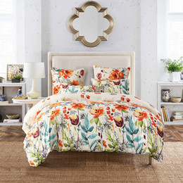 pink floral king size bedding set NZ - Luxury Sun Colored flowers Queen Super King Size Bedding Sets Pastoral Printed Floral Duvet Cover Set Pillowcases Single Double