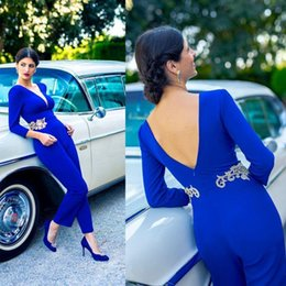 Women Jumpsuit Elegant Long Sleeve Australia - Arabic Dubai Elegant Blue Jumpsuits Prom Dresses Long Sleeves Sexy Open Back Evening Party Gowns Lace Appliqued Women Formal Wear 2019
