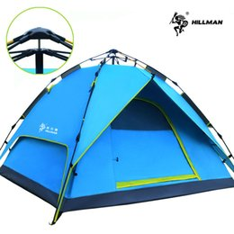 outdoors double layer camping tents NZ - Hillman Automatic Tent Outdoor 3-4 Person Double Layer Park Leisure Camping Fishing Tent Equipment