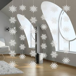 paper garland wholesale Australia - Unique Beautiful String Hollow Frozen Snowflake Paper Garlands Party Christmas Decorations Ornament Fake Snow Winter Decorations