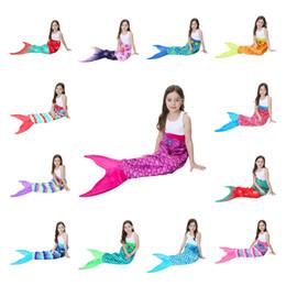 CharaCters blankets online shopping - 56 cm Kids Mermaid Tail Blanket Snowflake Printing Blankets Girls children Pattern Home Bed Warm Sleeping Bag LJJA3030