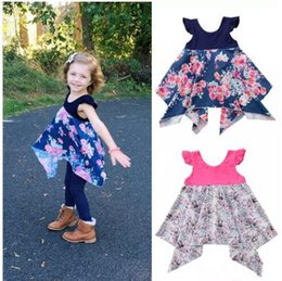 Child Girl Tutu Sweet Floral Australia - Sweet Baby Toddler Kid Girl Pageant Dress Princess Pink Blue Tutu Dress Floral Party Ball Dress Girls Boutique Clothing Children Clothes B11