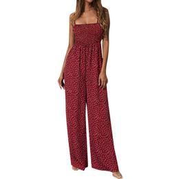 $enCountryForm.capitalKeyWord UK - Women Jumpsuit Sunflower Dot Print Jumpsuit Sleeveless Mono Mujer Largo Elegante Clubwear Wide Leg Pant Spot Outfit Mono Mujer Y19071801