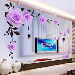 PurPle wallPaPer for bedroom walls online shopping - Custom D Stereo Purple Rose Mural Wallpaper For Bedroom Living Room TV Sofa Background Wall Papers Home Decor Modern Wallpaper