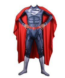 $enCountryForm.capitalKeyWord Australia - Unisex 3D Black Muscle Superboy Superhero Cosplay Costume Lycar Spandex High Quality Zentai Bodysuit Party Cloak Catsuit Jumpsuit