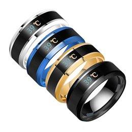 Intelligent Ring Australia - 2019 Fashion Intelligent Measurement Temperature Ring for man Display Change Color Measuring Finger Ambient Temperature Show