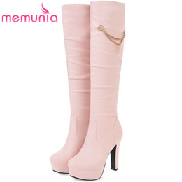 high heels big platform NZ - MEMUNIA Slip-on womens boots in autumn winter high heels shoes woman knee high boots fashion sweet platform big size 34-45