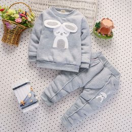 Tracksuit Rabbit NZ - good quality girls clothing set children winter tracksuits for girls sport suit Rabbit Print Tops Coat Pants Outfits warm clothing