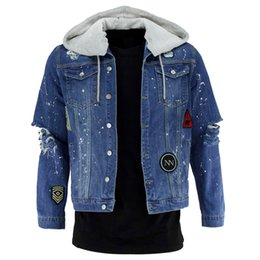 Wholesale New Style Cowboy Men s Embroidered Jacket Hooded Denim jacket Classic coat European size