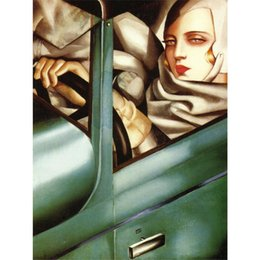 hand painted painting oil green NZ - Wall Art Tamara de lempicka Oil Painting abstract Tamara in the Green Bugatt Hand painted home decor