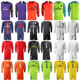 ec4160a98 2018 2019 Men FC GK Paris Saint Germain PSG Long Sleeve Jersey Set  Goalkeeper 1 Gianluigi Buffon Kevin Trapp Areola Football Shirt Kits
